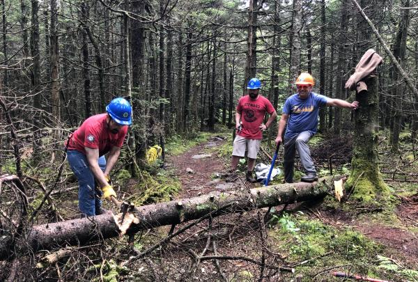 Conservation Corps Trail Stewards provide outreach to trail users and support for volunteers.. Photo by Melissa Cascini.