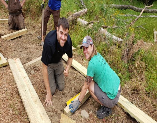 Building great trails together in Yorktown: Hiker Matt Dittman and biker Laura Kelly.